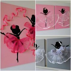ballerina canvas wall art, Kristna from Flora's shop has a series homemade ballerina wall art pieces which are perfect choice for baby girls nursery or little girl's room decoration. There are so inspirational for crafters to follow by painting the background and ballerina of the canvas with acrylic paint, adding tutu dress, silk ribbons and other accessories to make our own. Such cute gift idea for any ballerina lover.
