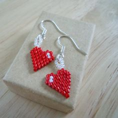 Sterling Silver Beaded Heart Earrings Seed Bead by BeadCrumbs