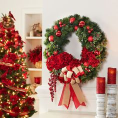 Add personal style to your pre-made wreath with floral picks and mini ornaments.