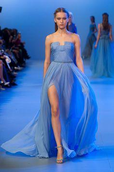 Elie Saab Paris Haute Couture Spring 2014. Flowing blue dress.