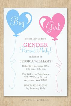 A cute gender reveal party invitation featuring blue and pink heart shaped balloons on an ivory background.
