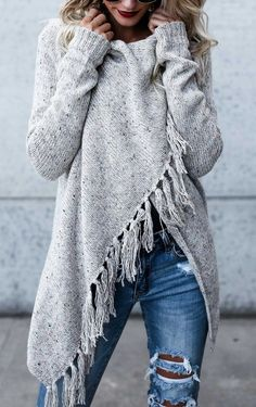 $47.99! Chicnico 2017 Grey Tassel Asymmetrical Hem Shawl Speckled Fringe Cardigan. Fall Fashion can't miss it Outfit Travel Trend Best Selling Online Store ---J