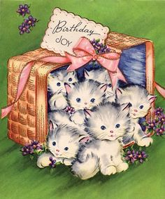 """Birthday Joy"" basket of kittens"