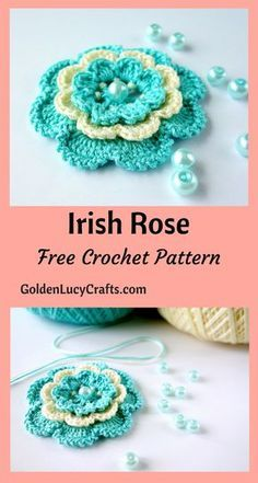 Crochet Irish Rose, free crochet pattern, crochet flower - GoldenLucyCrafts This crochet Irish Rose is a popular motif used in Irish Lace. You can use it as an appliqué and embellish anything you would like! Crochet Puff Flower, Crochet Flower Tutorial, Crochet Flowers, Crochet Leaves, Irish Crochet Patterns, Crochet Motif, Crochet Designs, Crochet Bows Free Pattern, Unique Crochet