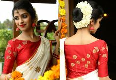 Kerala Saree Blouse Designs - Try These 15 Stylish Models Blouses For Kerala Saree are a perfect blend of tradition and modernity. Here are the best designs of Kerala saree blouses with images. Kerala Saree Blouse Designs, Saree Blouse Neck Designs, Red Blouse Saree, Sexy Blouse, Saree Dress, Work Blouse, Saris, Traditional Blouse Designs, Set Saree