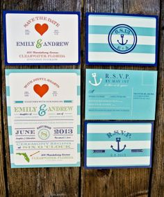 Nautical Wedding Invitation Suite: Striped Modern and Retro Anchor