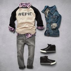 Boys' fashion   Kids' clothes   Graphic raglan top   Woven top   Denim jacket   Pants   Shoes   Back-to-school   The Children's Place