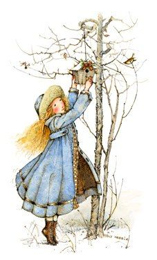 Wintertime and the birds get a cozy new home... - Holly Hobbie -- (art, illustrations, winter)