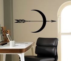 Moon and Arrow Wall Decal Native Shaman Sign Vinyl Sticker Ethnic Wall Art Decor Home Interior Room Office Design Mickey Mouse Wall Decals, Name Wall Decals, Wall Stickers, Arrow Tattoos, Vinyl Signs, Wall Art Decor, Wall Decorations, Textured Walls, Room Interior