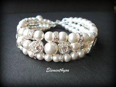 Bridal cuff bracelet Swarovski white or ivory by Element4you, $46.00