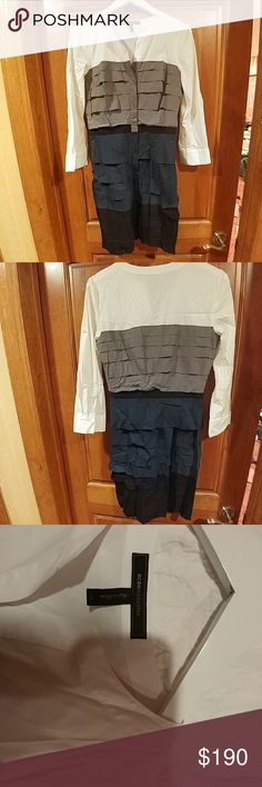 BCBGMAXAZRIA TIERED DRESS KNEE LENGTH Barely worn nice multicolored dress. Button up most of the way. Buttons covered with material. Wrinkles in the dress in the pictures come out easily (only from being folded) BCBGMaxAzria Dresses