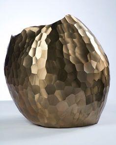David Wiseman Faceted Bronze Vase! print or handtuft difrent side!