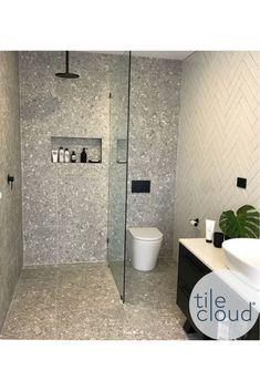 Stirling Terrazzo Look Grey Matt Tile Loft Bathroom, Bathroom Goals, Diy Bathroom Remodel, Bathroom Trends, Laundry In Bathroom, Bathroom Layout, Laundry Room Design, Bathroom Design Small, Simple Bathroom