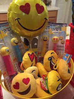 "Fun favors at an emoji birthday party! See more party ideas at <a href=""http://CatchMyParty.com"" rel=""nofollow"" target=""_blank"">CatchMyParty.com</a>!"