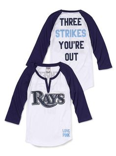 SO cute, Rays baseball Henley tee <3 I cannot wait to go to a game this season!