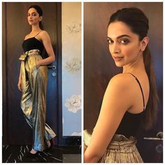 Deepika Padukone looks absolutely stunning in a black tank by H&M and metallic colored pants by Phillip Lim in these latest pics as she atte… Indian Celebrities, Bollywood Celebrities, Celebrities Fashion, Beautiful Bollywood Actress, Beautiful Actresses, Beautiful Celebrities, Bollywood Stars, Bollywood Fashion, Bollywood Images