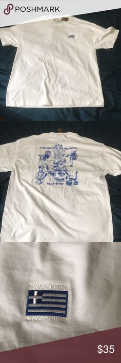 PASS-PORT GREECE EMBROIDERY TEE Limited release t shirt from skating brand pass-port new with tags didn't fit me and can't return completely sold out on company website Passport Shirts Tees - Short Sleeve