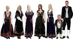 Here is a small selection of the Norwegian traditional dress called the Bunad.  Every town has its own design so you can tell where a person is from.  They are usually worn on the 17. May.  Norway's day of independence.  It makes our fourth of July look like a picnic LOL