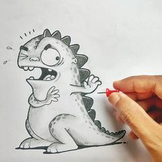 Adorable Drawn Dragon Playing With Everyday Object