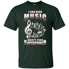 A hilarious short sleeve music t-shirt that musicians and music teachers will want.  Look awesome wearing it to music lessons, rehearsals, weekend gigs or for every day casual wear. It's the music gift every musician who can read music needs.  Get yours here: https://musicreadingsavantstore.com/collections/mens-t-shirts-1/products/i-can-read-music-whats-your-superpower-t-shirt | Funny Shirts Humor