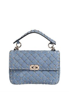 VALENTINO MEDIUM SPIKE QUILTED LEATHER BAG, SKY BLUE.