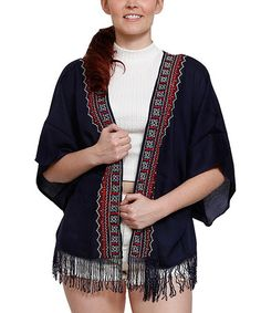 Look what I found on #zulily! Navy Fringe Open Cardigan - Plus #zulilyfinds