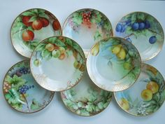 1868 - 1881 Set 8 Plates CHF Limoges Haviland Fruits Berries Hand Painted Gilded Mothers Day Wedding Anniversary Birhtday Holidays Gift
