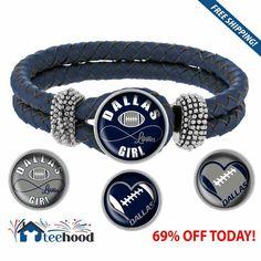 Dallas Cowboys Leather Snap Charm Bracelet
