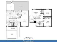 Naval Complex San Diego – Pomerado Terrace Neighborhood: 3 bedroom 2.5 bathroom home floor plan designated for E6-E9 service members.