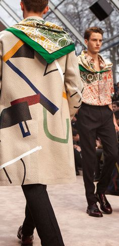 A geometric hand-painted leather caban on the Burberry Menswear A/W14 runway