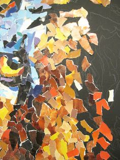 torn paper value collage.  We do this with jazz and blues singers photos in music for reports.