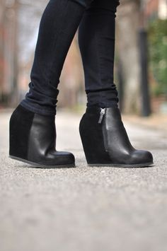 Image result for fashion black wedge ankle boots