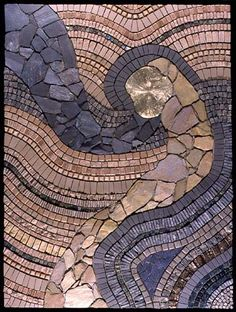 Earth Moves 2001 by Sonia King, Award of Merit winner at the internationally juried Society of American Mosaic Artists' showSlate, ceramic, marble, glass, pyrite