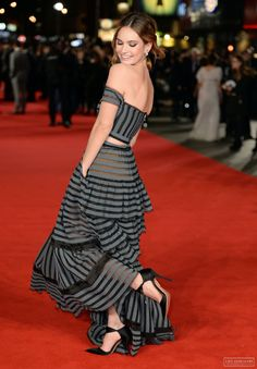 Image in Lily James collection by valentina on We Heart It Sam Riley, Jane Austen, Celebrity Dresses, Celebrity Style, Matt Smith Lily James, Pictures Of Lily, Lily Collins, Red Carpet Looks, Hollywood Celebrities