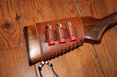 Cartouchière de crosse cal. 12 - cuir lacet cuir