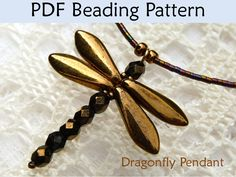 bead dragonfly | Dragonfly Pendant Beading Pattern PDF, Bead Tutorial, Dragonflies ...
