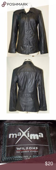 100% Wilson Leather Jacket Genuine Maxima Wilson's Leather Jacket. Size: Small. Perfect for fall. Small blemish in leather on back of jacket. See final picture. Smoke free home. Wilsons Leather Jackets & Coats