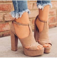 $20 - $100 Nude Beige Suede Material Strappy Buckle High Heeled Shoes With Platform Heel Spring Summer Shoe Trend