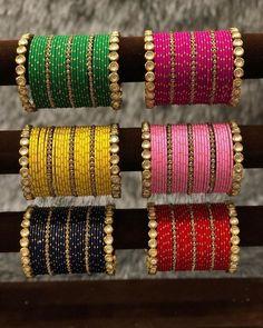 Silk Thread Bangles Design, Silk Bangles, Bridal Bangles, Thread Jewellery, Antique Jewellery, Bridal Jewelry, Fancy Jewellery, Hand Jewelry, Women's Jewelry