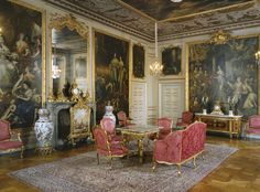 Finally Swedish Grandeur, tiered of only Swedish painted furniture and all from around 1870.... Drottningholm Palace in Sweden