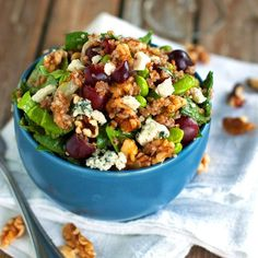 This honey walnut power salad is completely loaded with good stuff: edamame, grapes, blue cheese, bulgur, walnuts, spinach, and honey.