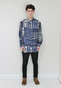 Abstract Print Silk Shirt from Dusty & Dylan Young Men, Abstract Print, Vintage Men, Printed Shirts, Graphic Sweatshirt, Silk, Boutique, Denim, Sweatshirts