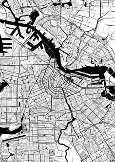 Amsterdam Toner Poster by Amsterdam Map, Map Quilt, City Layout, Urban Design Plan, Urban Analysis, Site Plans, Architecture Drawings, Gothic Architecture, Map Design