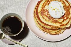 Vanilla and Oat Pancakes With Whipped Vanilla Sour Cream Recipe | Bon Appetit