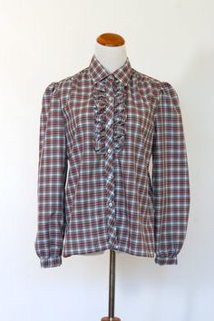 70's Vintage Prairie Blouse Victorian Style by pinebrookvintage, $24.00 NEW! Beautiful traditional tiny red plaid ruffle shirt.