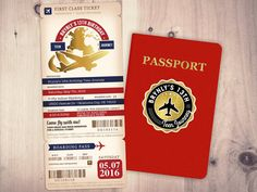 PASSPORT and TICKET birthday invitation travel by LyonsPrints