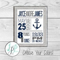 Let your dreams set sail nautical nursery birth announcement sign nautical nursery wall art nautical birth stats birth details print nautical baby gift custom anchor baby giftnautical theme nursery art negle Images