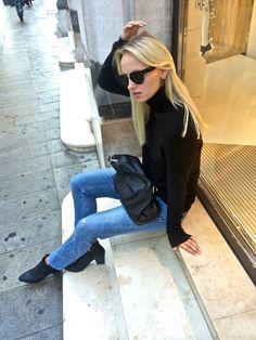 saralinneea - turtleneck, jeans, celine shades, heels