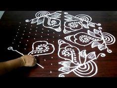 Shankh Rangoli Design With 15 x 8 Dots , Shankam Muggulu Video. Rangoli Designs Peacock, Rangoli Patterns, Rangoli Border Designs, Rangoli Ideas, Rangoli Designs Diwali, Rangoli Designs With Dots, Rangoli Designs Images, Rangoli With Dots, Simple Rangoli