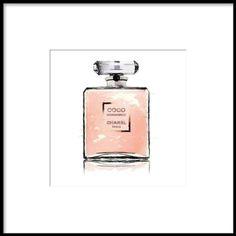 Poster / tavla med rosa Chanel parfym.